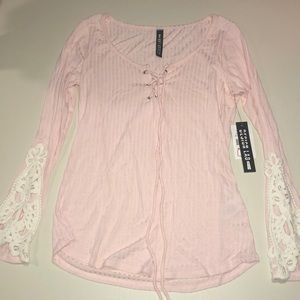 NEW pink and white tie-up sweater